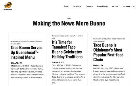Screenshot of Press Page tacobueno.com - News - Taco Bueno - captured Dec. 12, 2018