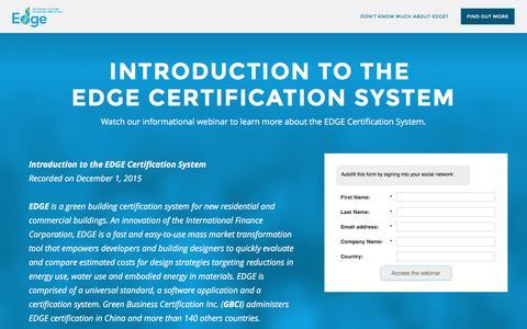Screenshot of Landing Page usgbc.org - EDGE Webinar Registration - captured Oct. 21, 2016