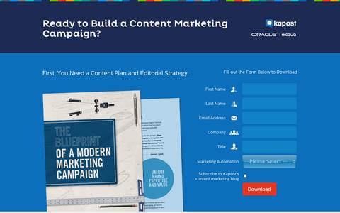 Screenshot of Landing Page kapost.com - The Blueprint of a Modern Marketing Campaign | Kapost - captured Oct. 27, 2014