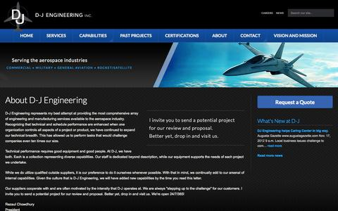 Screenshot of About Page djgrp.com - Engineering and Manufacturing for the Aerospace Industry - D-J Engineering, Inc. - captured Oct. 3, 2014