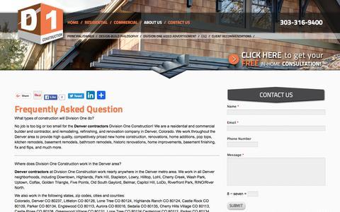 Screenshot of FAQ Page divisionone.net - Denver Contractors   Denver General Contractors - captured April 2, 2016