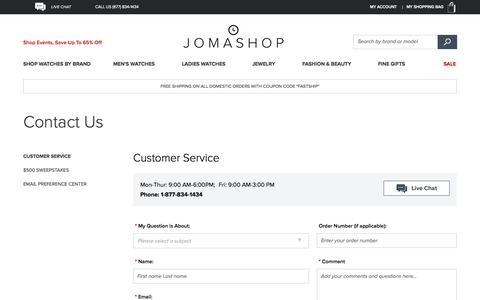 Screenshot of jomashop.com - Customer Service  - Jomashop - captured Oct. 3, 2015
