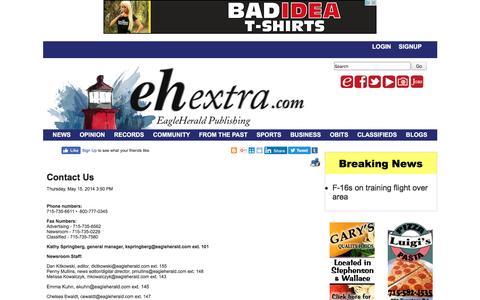 Screenshot of Contact Page ehextra.com - Contact Us - EH Extra - captured Oct. 19, 2016