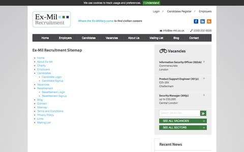 Screenshot of Site Map Page ex-mil.co.uk - Sitemap | Ex-Mil Recruitment - Civilian Vacancies for the Ex-Military - captured Nov. 13, 2016