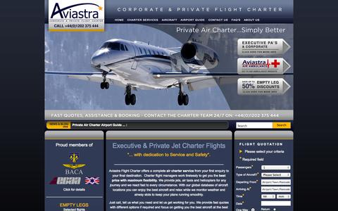 Screenshot of Home Page aviastra.com - Private Jet Charter, Air Taxis & Helicopters | Aviastra Flight Charter Ltd - captured Oct. 4, 2014