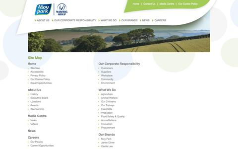 Screenshot of Site Map Page moypark.com - Welcome to Moy Park Limited - Site Map - captured Oct. 30, 2014