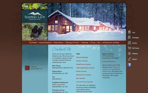 Screenshot of Contact Page sleepinglady.com - Contact us at 800.574.2123 | Sleeping Lady Mountain Resort - captured Oct. 26, 2014