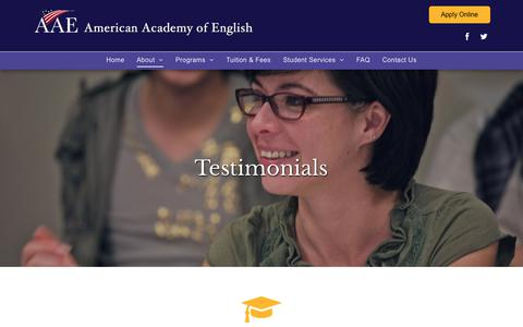 Screenshot of Testimonials Page aae.edu - American Academy of English - San Francisco, CA - Testimonials - captured Oct. 3, 2018
