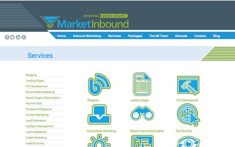 Screenshot of Services Page marketinbound.com - Market Inbound - captured Oct. 3, 2014