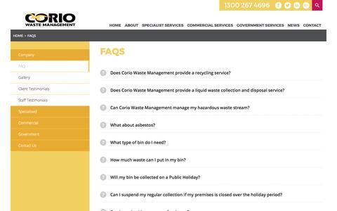 Screenshot of FAQ Page coriowm.com.au - FAQs | Corio Waste Management - captured Aug. 26, 2017