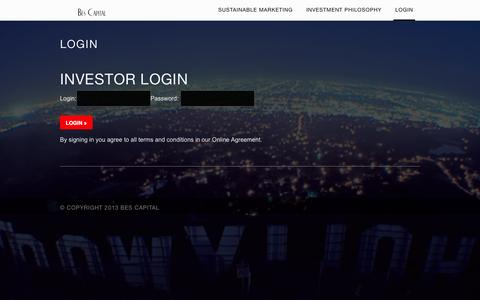 Screenshot of Login Page bescapital.com - Login ‹ Bes Capital - captured Sept. 30, 2014
