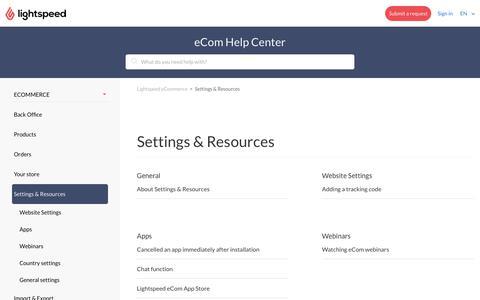 Settings & Resources – Lightspeed eCommerce