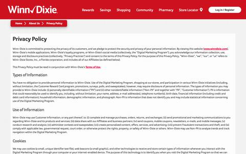 Screenshot of Privacy Page winndixie.com - Privacy Policy   Policies   Winn-Dixie - captured Oct. 18, 2018