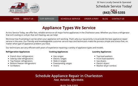Screenshot of Services Page avivservicetoday.com - Brands we Service | We Service Major Brands - captured July 31, 2018