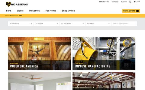 Screenshot of Case Studies Page bigassfans.com - Big Ass Fans Resources are at Your Fingertips in the Resource Center. - captured Oct. 2, 2019