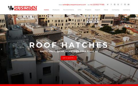 Screenshot of Home Page surespancovers.com - Surespan Ltd UK - Roof Hatches & Floor Access Covers - captured Nov. 12, 2018
