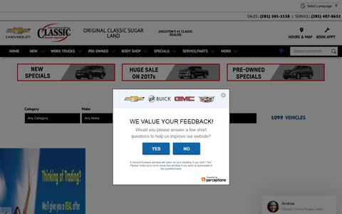 Screenshot of Home Page classicchevyhouston.com - Houston Chevrolet | Classic Chevrolet Sugar Land | Silverado & Cruze Houston, TX - captured July 18, 2018