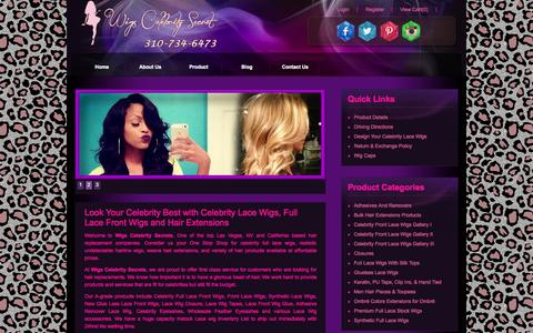 Screenshot of Home Page wigscelebritysecret.com - Synthetic Wigs, Celebrity Full Lace Front Wig, Hair Extension - captured Sept. 16, 2015