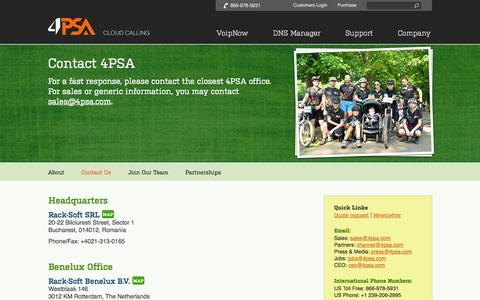 Screenshot of Contact Page 4psa.com - Contact Unified Communications and VoIP Provider 4PSA - captured Sept. 24, 2014
