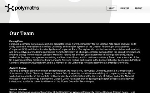 Screenshot of About Page polymathsconsulting.com - About - POLYMATHS - captured Sept. 28, 2018