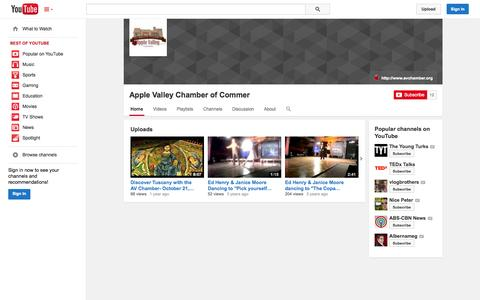 Screenshot of YouTube Page youtube.com - Apple Valley Chamber of Commer  - YouTube - captured Oct. 23, 2014