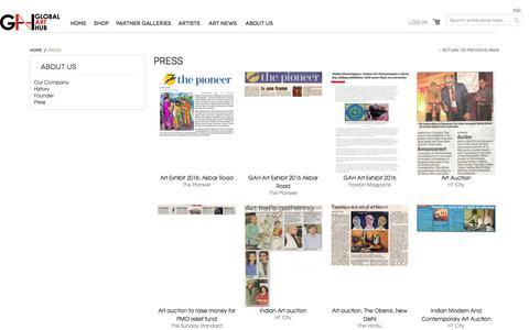 Screenshot of Press Page globalarthub.com captured July 14, 2016