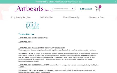 Screenshot of Terms Page artbeads.com - Terms of Service - captured June 21, 2017