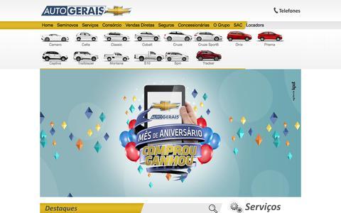 Screenshot of Home Page autogerais.com - Concessionária Chevrolet Autogerais São Lourenço Itajubá Sul de Minas - captured Sept. 22, 2014