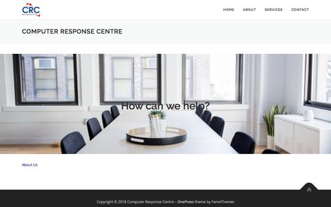 Screenshot of Home Page crcnetworks.com.au - Computer Response Centre – Just another WordPress site - captured July 15, 2018