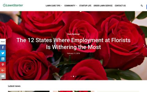 Screenshot of Blog lawnstarter.com - Lawnstarter - The LawnStarter Lawn Care Service Blog - captured Feb. 13, 2016