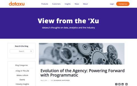 Screenshot of Blog dataxu.com - Evolution of the Agency: Powering Forward with Programmatic - captured Nov. 18, 2019