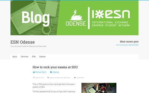Screenshot of Blog esnodense.dk - ESN Odense – Your Survival Guide to Odense and Denmark - captured July 10, 2016