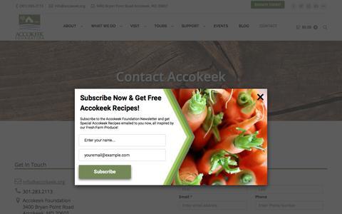 Screenshot of Contact Page accokeekfoundation.org - CONTACT – Accokeek Foundation - captured July 28, 2018