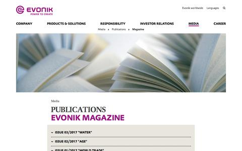 Evonik Magazine - Publications - Evonik Industries AG