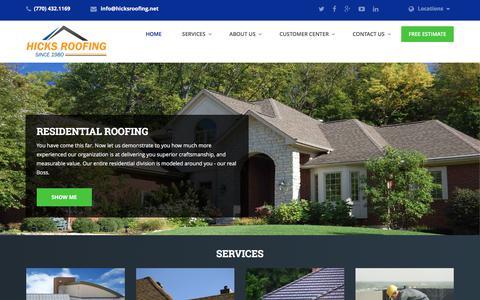Screenshot of Home Page hicksroofing.net - Hicks Roofing | Atlanta Roofer - captured June 9, 2017