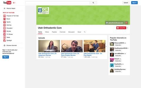 Screenshot of YouTube Page youtube.com - Utah Orthodontic Care  - YouTube - captured Oct. 29, 2014