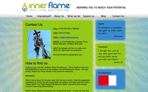 Screenshot of Contact Page innerflame.org.uk - Contact Us - Inner Flame - captured Sept. 30, 2014