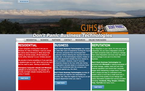 Screenshot of Home Page dontpanic.biz - Dont Panic Business Technologies - Home - captured Oct. 5, 2014