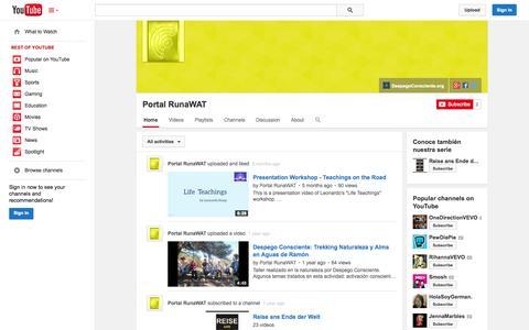 Screenshot of YouTube Page youtube.com - Portal RunaWAT  - YouTube - captured Oct. 22, 2014
