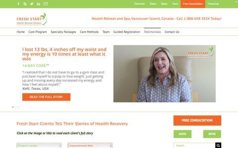 Screenshot of Testimonials Page healthretreat.ca - Health Recovery Testimonials - Fresh Start |Health & Lifestyle Transformation Retreat & Spa - captured Nov. 4, 2018