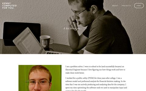 Screenshot of About Page kjcodes.com - Me! — Kenny computes! For You. - captured Oct. 6, 2014