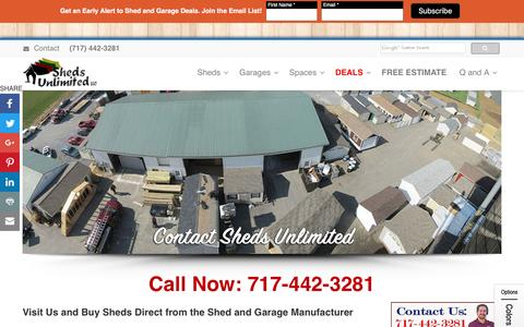 Screenshot of Contact Page shedsunlimited.net - Buy Sheds Direct | Garages Direct from the Shed and Garage Builder - captured Sept. 19, 2016