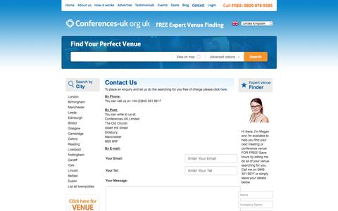 Screenshot of Contact Page conferences-uk.org.uk - Contact Us | Conference Venues UK | Conference Venues London - captured May 20, 2017