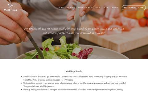 Screenshot of Pricing Page mealninja.com - Pricing — Meal Ninja - captured Aug. 4, 2016