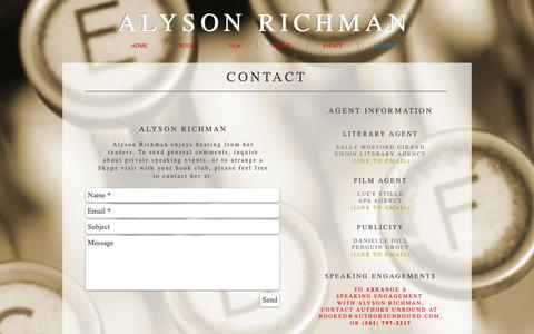 Screenshot of Contact Page alysonrichman.com - Alyson Richman   Contact   Publicity - captured Oct. 25, 2018