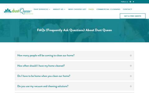 Screenshot of FAQ Page dustqueen.com - FAQs | Dust Queen Maid Service - captured Oct. 9, 2018