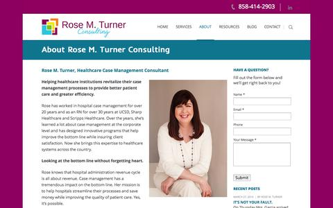 Screenshot of About Page rosemturnerconsulting.com - About Rose M. Turner Consulting   Rose M Turner ConsultingRose M Turner Consulting - captured Oct. 6, 2014