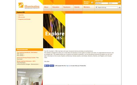 Screenshot of About Page ies.org - IES - Illuminating Engineering Society - captured Sept. 22, 2014