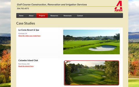 Screenshot of Case Studies Page aspen-golf.com - Case Studies | Aspen Corporation | Golf Course Construction, Renovation and Irrigation Services - captured Nov. 21, 2016