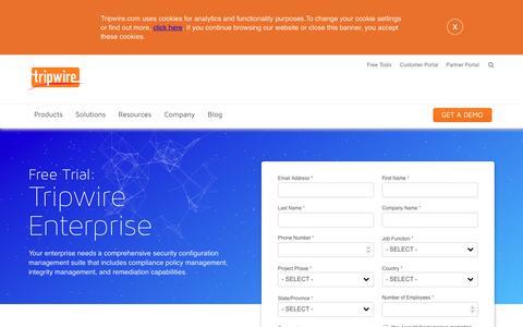 Screenshot of Trial Page tripwire.com - Tripwire Enterprise Free Trial - captured Jan. 17, 2019